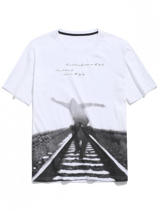 unique Railway Letters Print Short Sleeves T-shirt - WHITE L