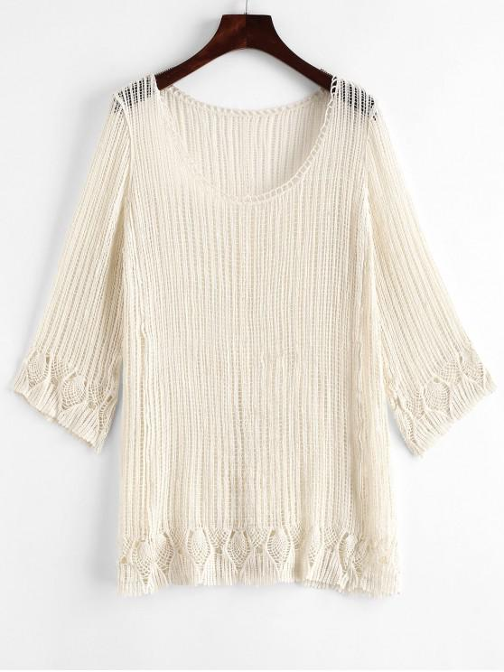 8b7bb2845ec70d 14% OFF   POPULAR  2019 Scoop Neck Crochet Cover-up In WARM WHITE ...