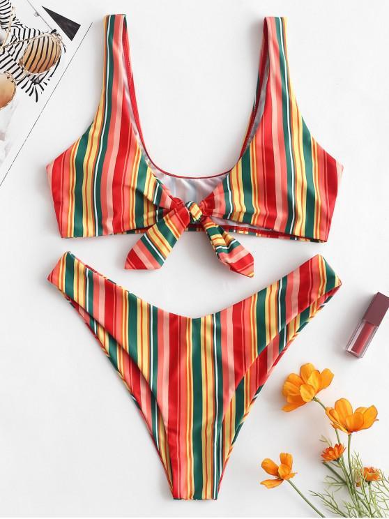 ZAFUL   Geknotetes Buntes Gestreiftes Bikini-Set mit Hohem Bein - Multi-A S