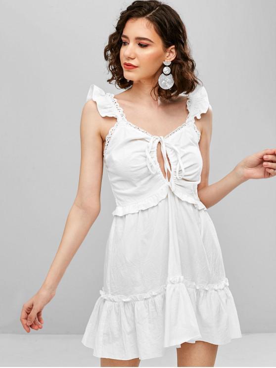 Tie Ruffle Shirred Sundress - Blanco L