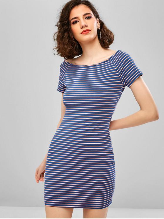 Mini vestido ajustado con espalda anudada a rayas de ZAFUL - Azul Mármol L