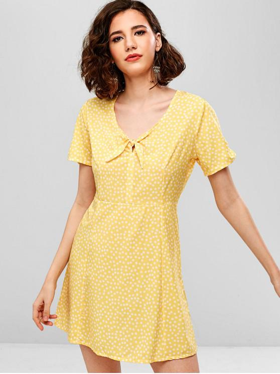fashion Back Zipper Knotted Floral Dress - YELLOW S
