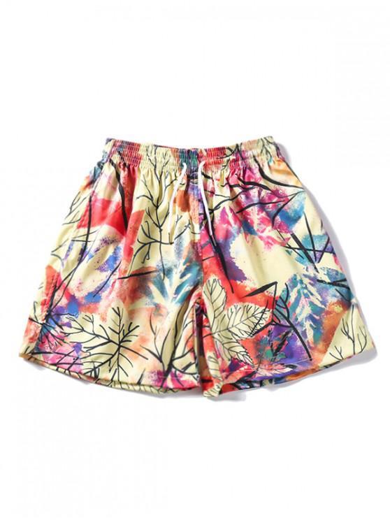 Shorts con cordón y estampado de pintura de colores - Multicolor S