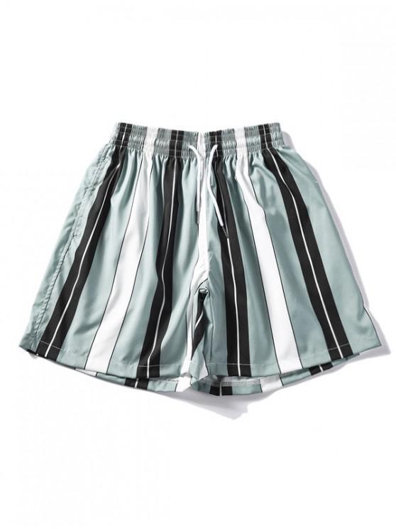Diseño de rayas con cordón pantalones cortos casuales - Multicolor L