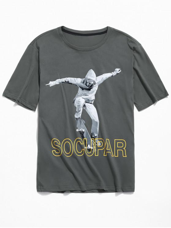 Camiseta de manga corta con estampado de monopatín - Gris L