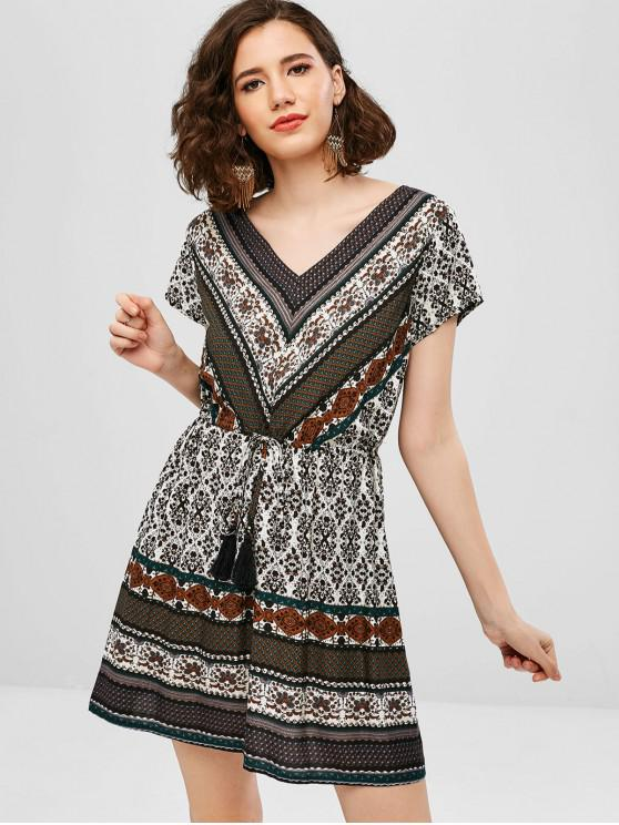 Vestido estampado con borla y cordón en el cuello en V de ZAFUL - Multicolor-A L