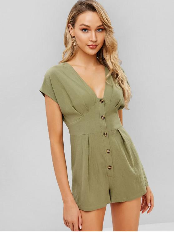 unique ZAFUL Pleated Button Up Romper - DARK SEA GREEN M