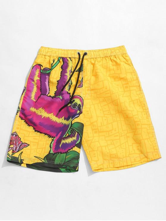 women's Animal Geometric Print Board Shorts - SUN YELLOW L