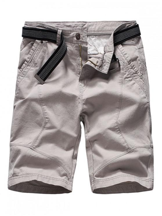 womens Solid Color Cargo Casual Shorts - LIGHT GRAY 34