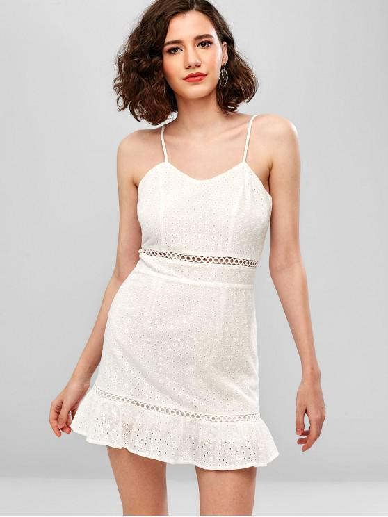 sale ZAFUL Hollow Out Eyelet Mini Cami Dress - WHITE S