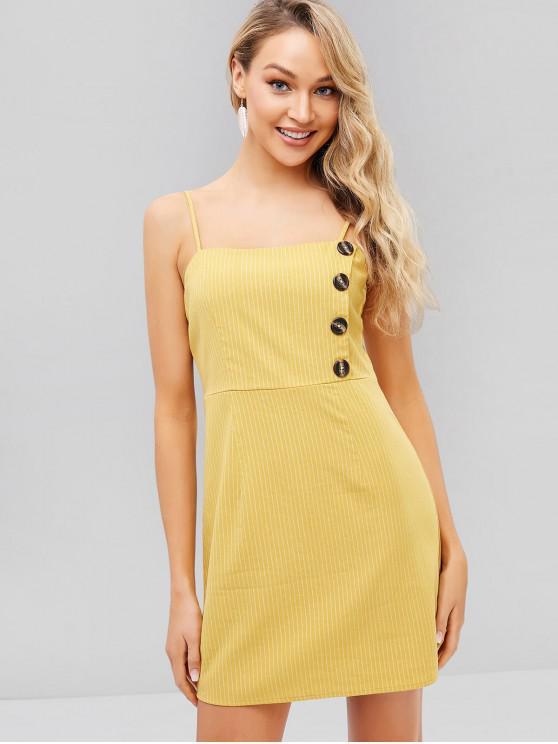 best Button Pinstriped Sundress - GOLDEN BROWN XL
