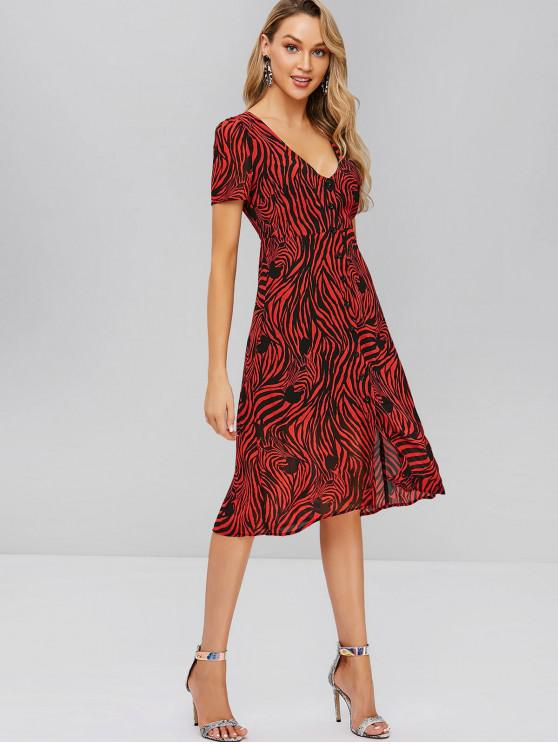 best ZAFUL Zebra Print Chiffon Dress - MULTI-A S