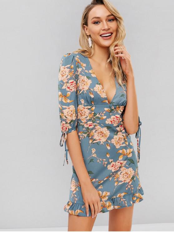 women ZAFUL Flower Plunge Mini Flounce Dress - BLUE HOSTA S