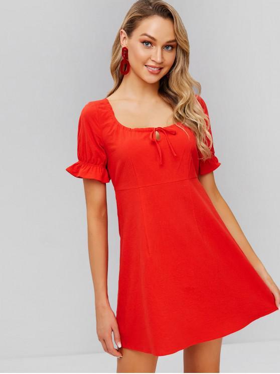 Mini vestido con cintura anudada y manga angosta de ZAFUL - Rojo L