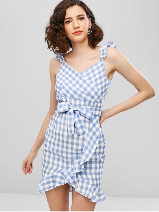hot Ruffles Plaid Belted Asymmetric Dress - LIGHT BLUE XL