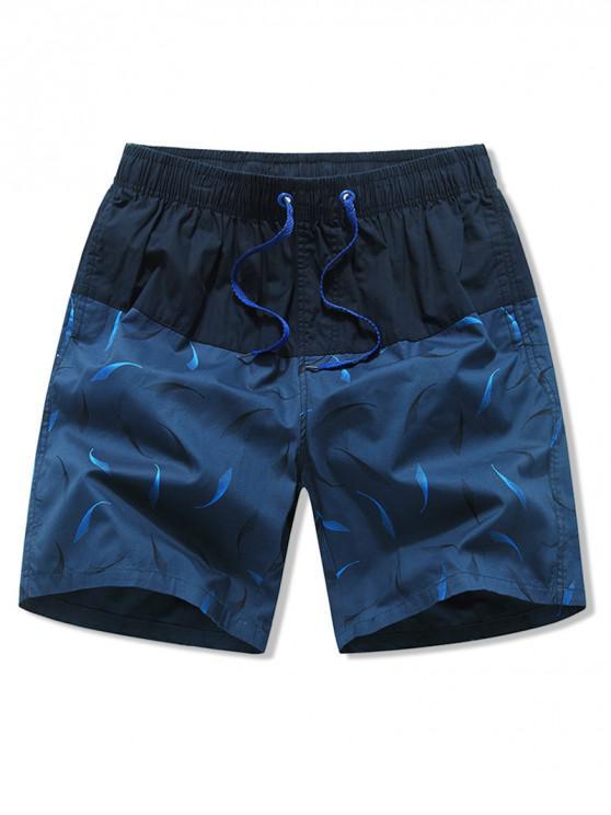 sale Pattern Print Color Block Drawstring Shorts - BLUE ZIRCON M