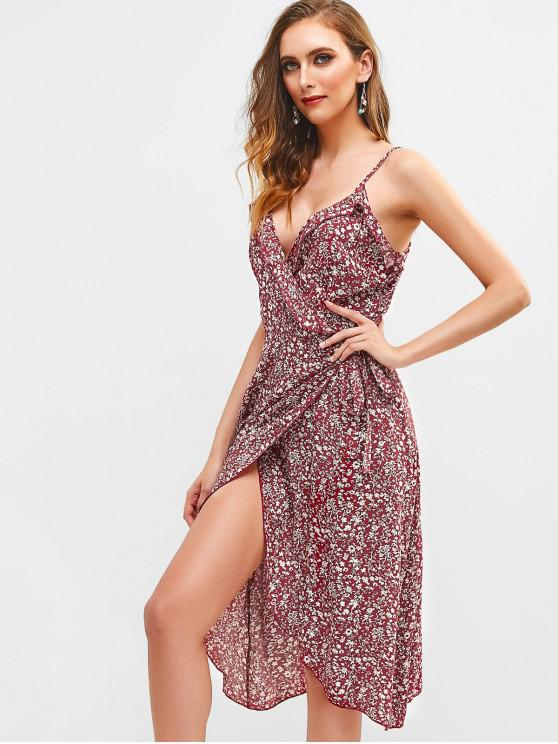 hot ZAFUL Floral Ruffles Wrap Cami Dress - RED WINE S