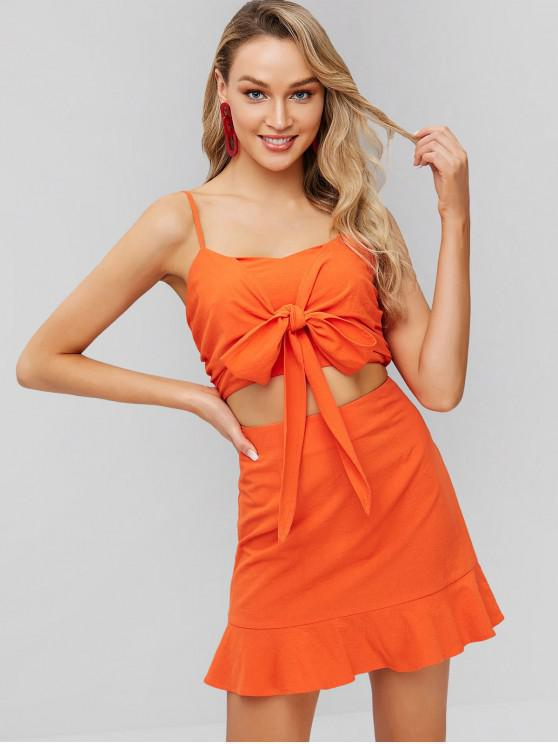 chic ZAFUL Smocked Knotted Cami Top and Skirt Set - ORANGE S