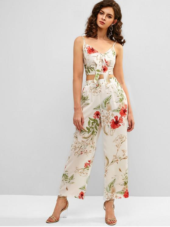 fancy ZAFUL Knot Flower Cami Top and Pants Set - WHITE S