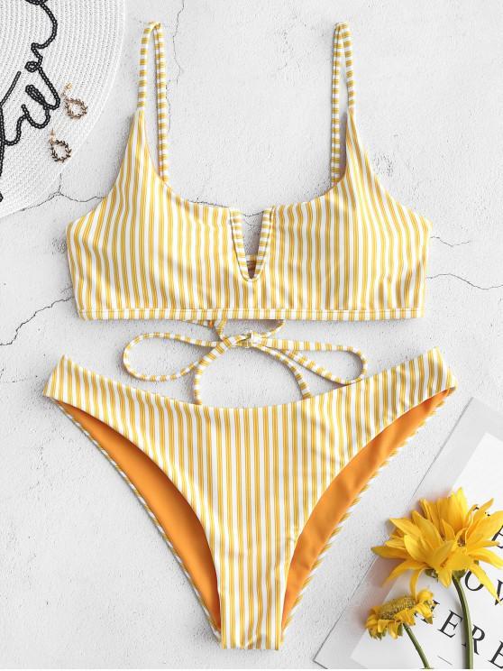 latest ZAFUL V-wired Striped Bikini Set - RUBBER DUCKY YELLOW L