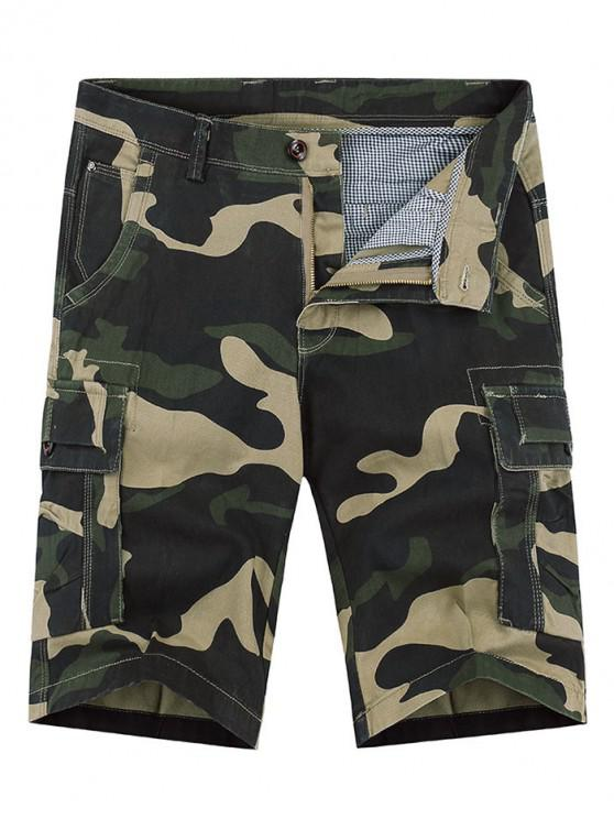 hot Zipper Fly Camouflage Print Casual Shorts - MULTI 34
