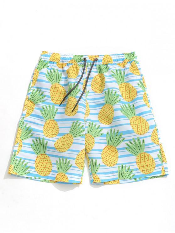 online Striped Pineapple Print Hawaii Board Shorts - MULTI XL
