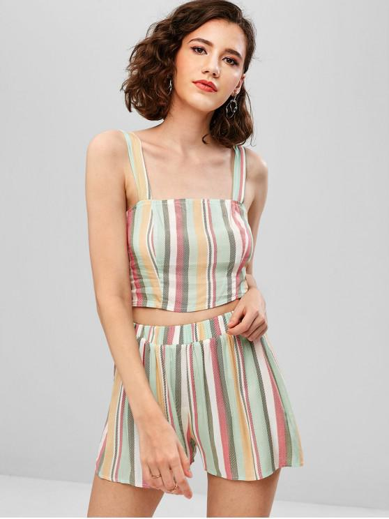 trendy ZAFUL Striped Crop Cami Top and Shorts Set - MULTI L