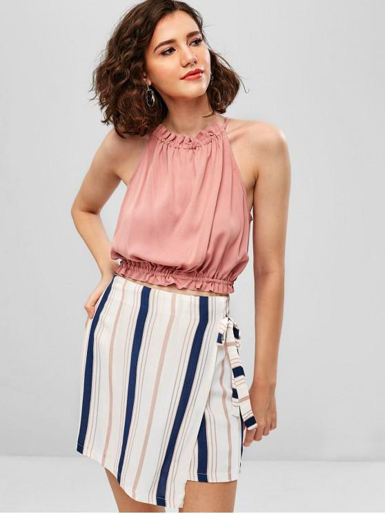 buy ZAFUL Contrast Stripes Top And Skirt Set - MULTI-A L