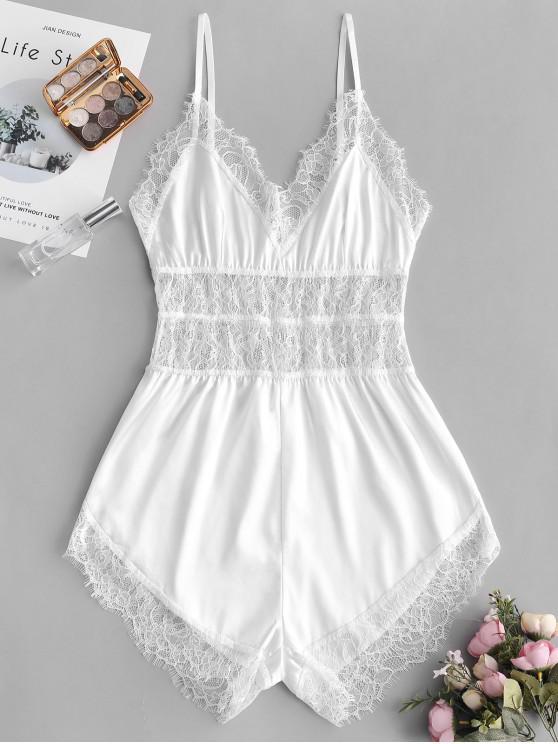 sale Lace Insert Slip Pajama Romper - WHITE M