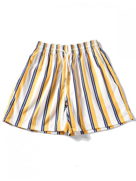 hot Striped Design Casual Shorts - GOLDENROD L