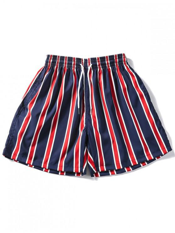 Shorts de diseño a rayas - Rojo Lava XL