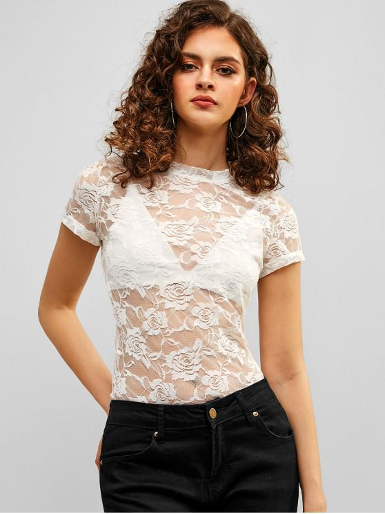 fancy Short Sleeves Floral Lace Sheer Tee - WHITE XL