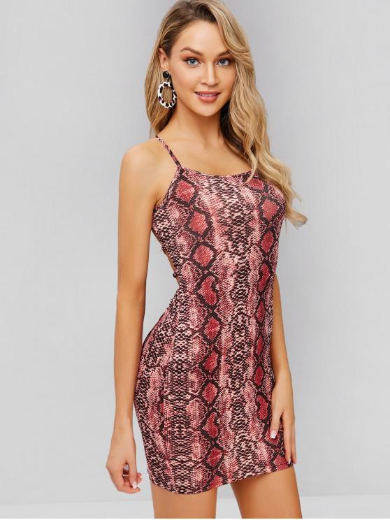 trendy Snakeskin Print Criss Cross Cami Dress - MULTI L