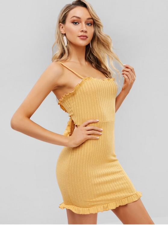 outfit ZAFUL Knotted Ruffles Knit Cami Dress - BEE YELLOW XL