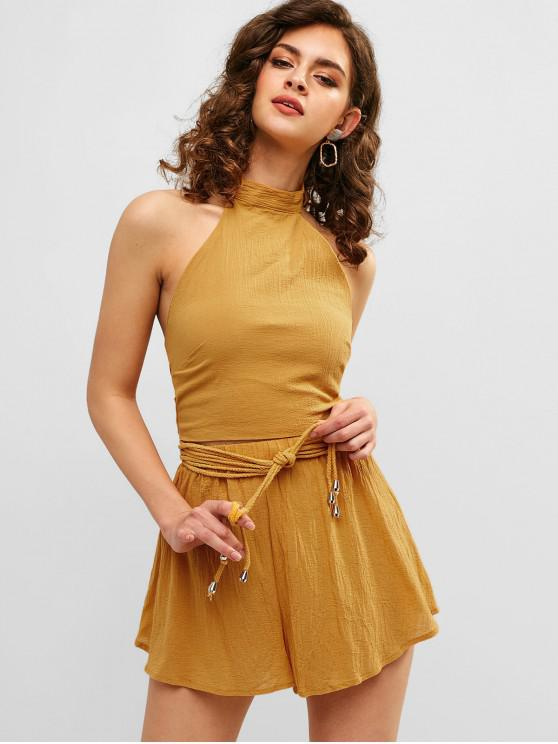 women's Knotted Crop Top and Loose Shorts Set - GOLDENROD L