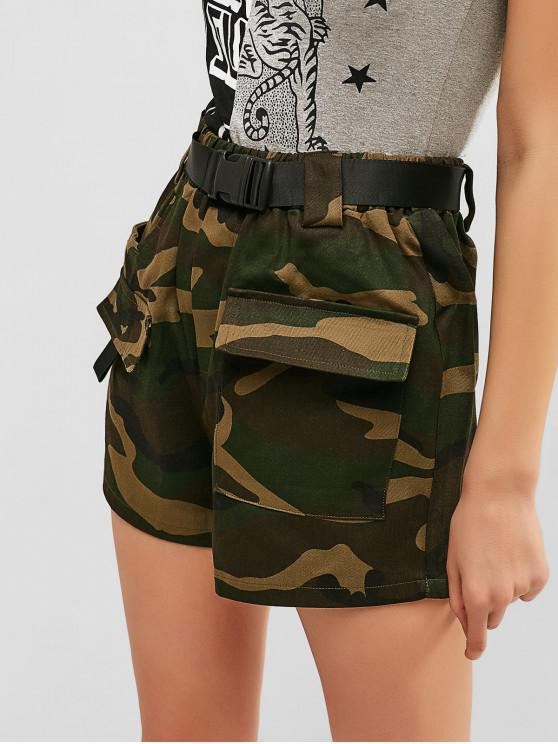 women's Buckled Belt Camo Shorts - FERN GREEN L