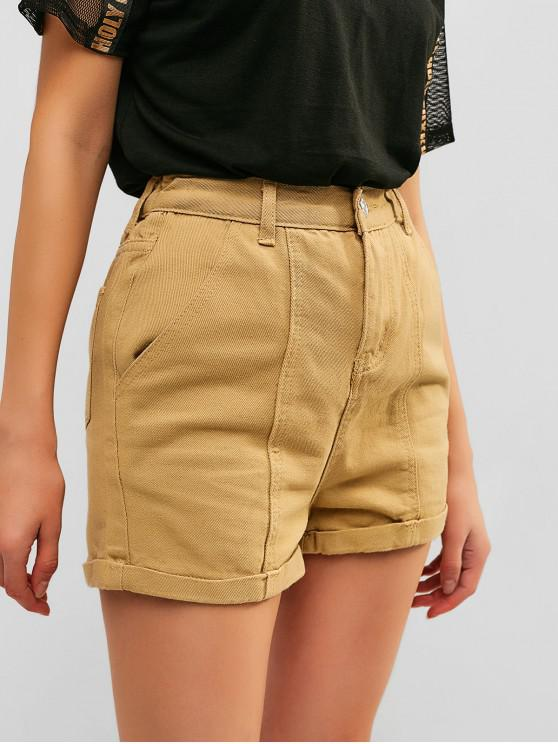 chic Zipper Fly Plain Cuffed Shorts - LIGHT KHAKI M