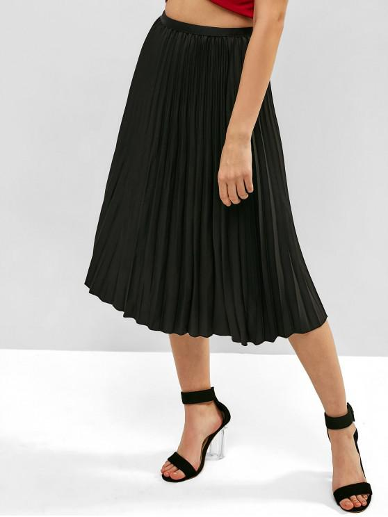 trendy Solid High Waisted Pleated Skirt - BLACK ONE SIZE