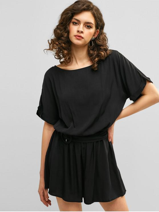 outfits Cut Out Plain Belted Wide Leg Romper - BLACK M