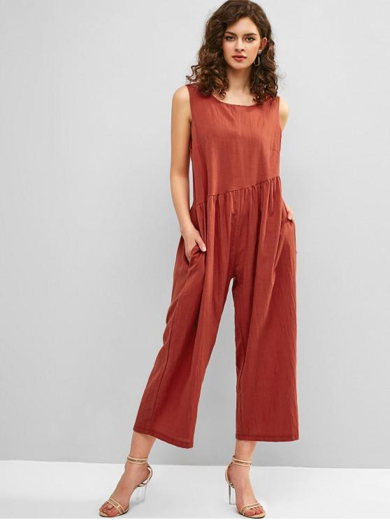 trendy Open Back Wide Leg Sleeveless Jumpsuit - CHESTNUT RED S