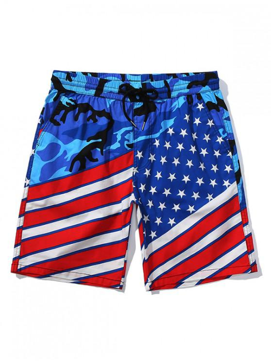 womens American Flag Camouflage Print Board Shorts - NAVY BLUE XS