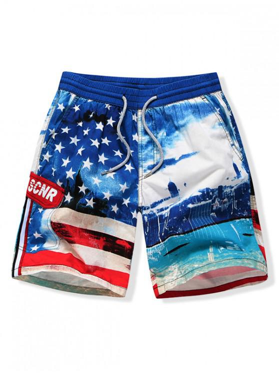 lady Retro American Flag Print Beach Shorts - BLUEBERRY BLUE XS