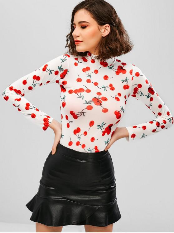 buy Mock Neck Cherry Print Tee - WHITE S