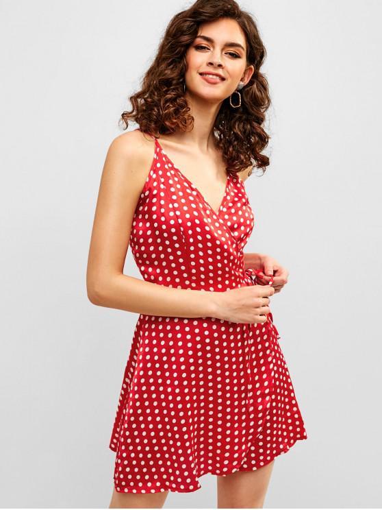 best ZAFUL Polka Dot Mini Wrap Dress - RED S