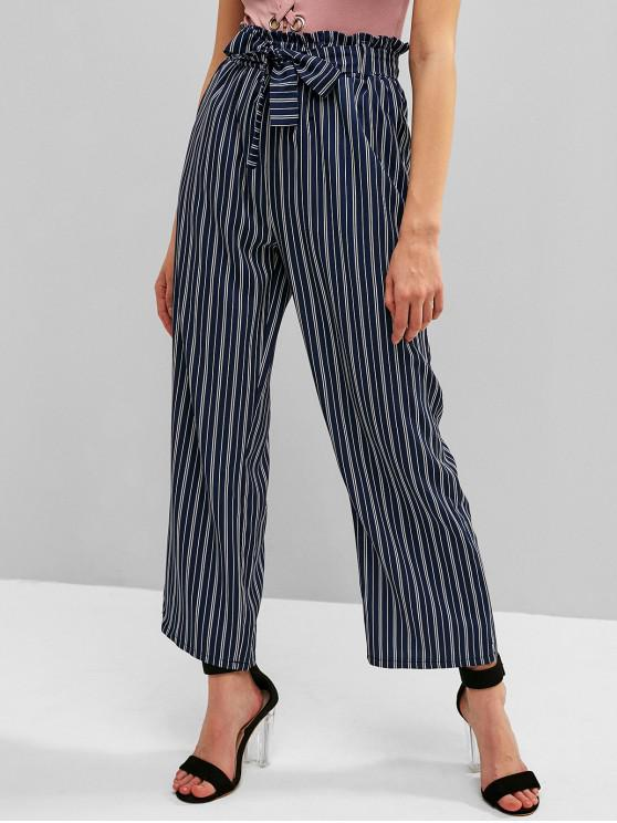 women Striped Pocket Belted Paperbag Waist Pants - MIDNIGHT BLUE XL