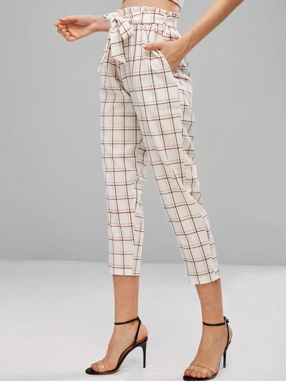 shops High Waisted Plaid Belted Pants - WHITE M