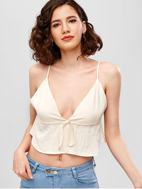 lady ZAFUL Knotted Crop Cami Top - WHITE S