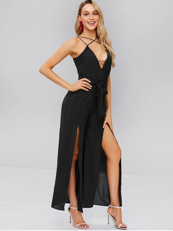 best ZAFUL Slits Wide Leg Belted Cami Jumpsuit - BLACK L