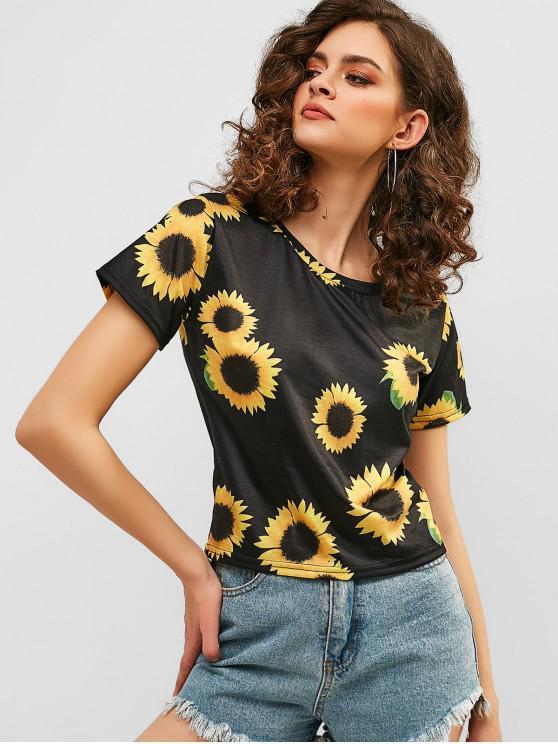 women Sunflower Short Sleeve T-shirt - BLACK M