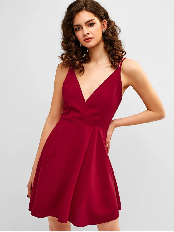 fashion ZAFUL Crisscross Skater Dress - RED WINE L